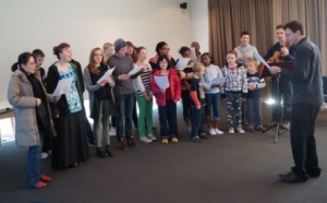 The teams first 'choir' practice!