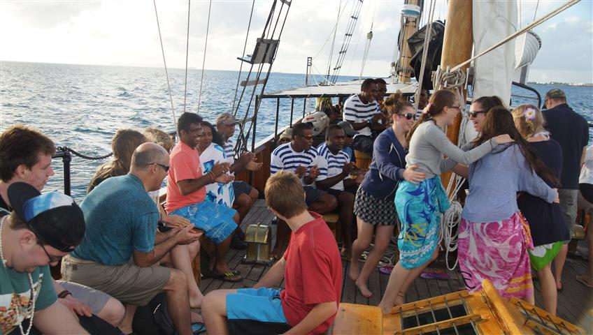 Fijian music and dancing as we return home from our island adventure